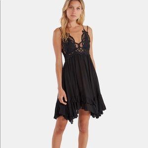 Free People Adella Black Lace Slip Dress LBD